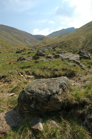 Heading up Lingmell Gill